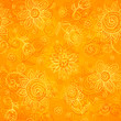 Orange floral bright vector seamless pattern