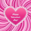 Pink vector lacy heart on wavy hair lines background