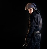 Riot Police Officer in the Dark