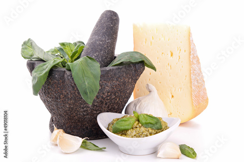 pesto sauce and cheese
