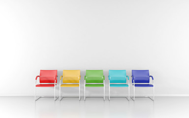 5 colored stools in the waiting room