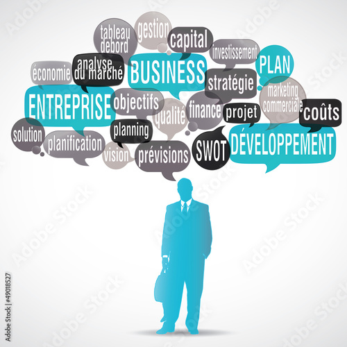 nuage de mots bulles silhouette : business plan