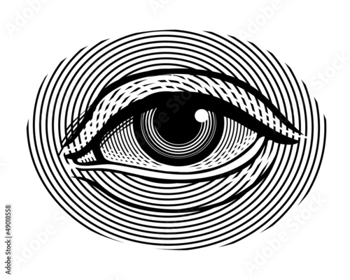 Vector illustration of human eye in vintage engraved style