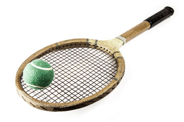 wooden tennis racket in frame