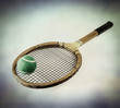 vintage tennis racket and ball