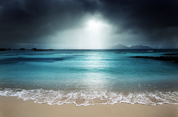 dark sky on the beach of la Digue island, Seychelles