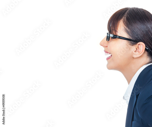 Profile of happy smiling young businesswoman