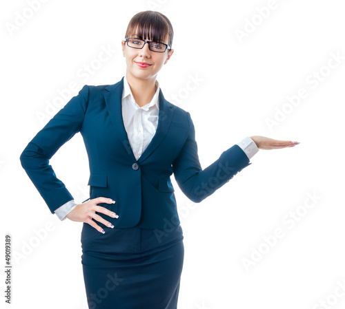 Attractive beautiful business woman present something, isolated