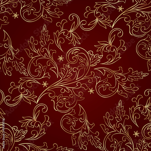 Red gold floral vintage seamless pattern