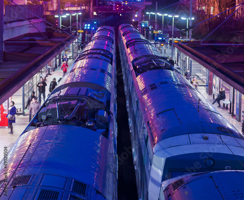 Trains in a station