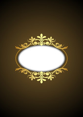 Vector brown vintage frame with gold ornament