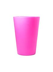 pink plastic mug on white background