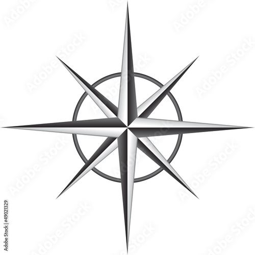Vector illustration of compass rose
