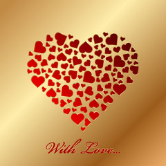 """""""With love"""" - vector gold card with hearts"""