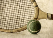 retro tennis ball and racket