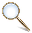 Vector illustration of golden magnifying glass
