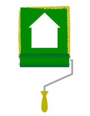 Vector illustration of paint roller with house icon