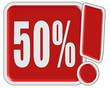 !-Schild rot quad 50 PERCENT