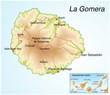 Landkarte von La Gomera.Kanarische Insel