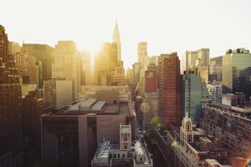 New York City Manhattan skyline view at sunshine.