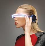 woman with futuristic glasses