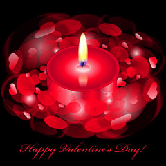 """Vector """"Happy Valentines Day"""" card with red candle"""