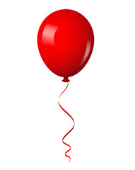 Vector illustration of red shiny balloon with ribbon