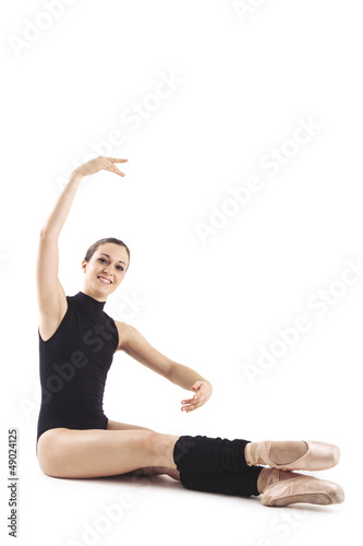 Portrait of young dancer isolated on white background.