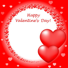 """Vector """"Happy Valentin's Day"""" card with red hearts"""