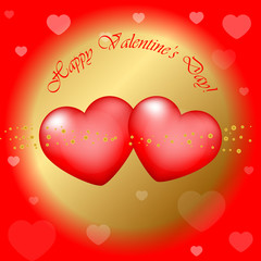 "Vector red and gold ""Happy Valentines Day"" background"