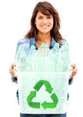 Woman recycling bin