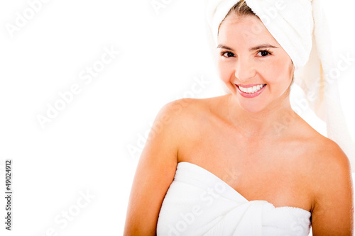 Happy woman after a bath