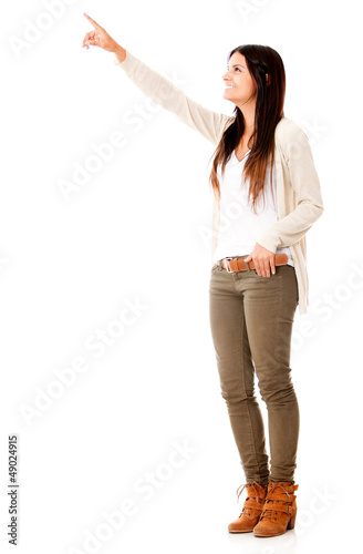 Woman pointing away