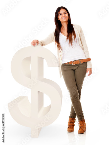 Woman with a dollar symbol