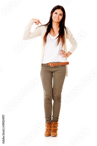 Woman pointing at herself