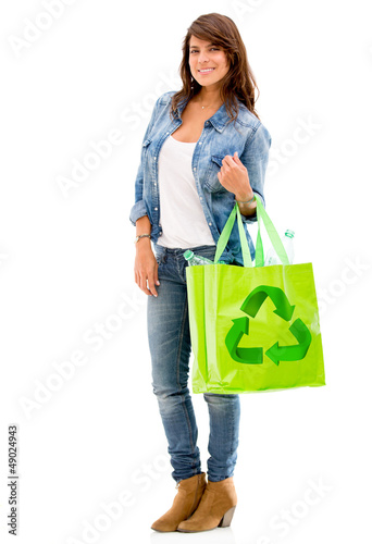 Woman with a reusable bag