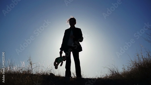 Silhouette of Girl with Teddy Bear