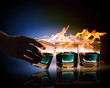 Three glasses of burning emerald absinthe