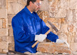Masonry mason stonecutter man with hammer working