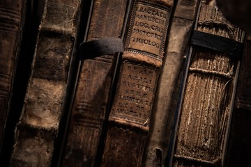 Vintage books in a row