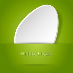 Uovo di Pasqua bianco su sfondo verde
