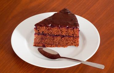 Tasty chocolate sacher cake close up