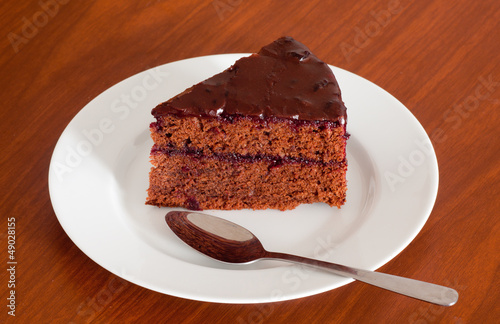 Tasty chocolate sacher cake close up