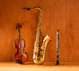 Classic music Sax tenor saxophone violin and clarinet vintage