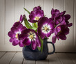 purple tulips in a blue vase - vintage style