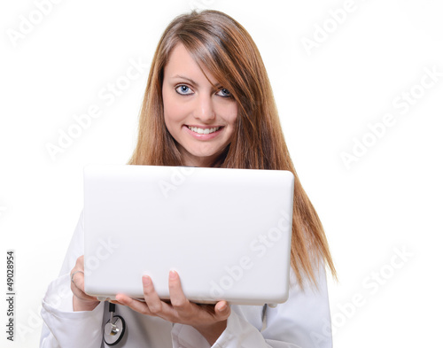 cute female octor working with notebook