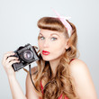 retro woman with camera