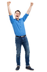Happy man with arms raised