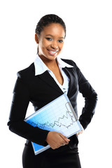 A happy young business woman holding a clipboard