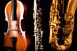Music Sax tenor saxophone violin and clarinet in black